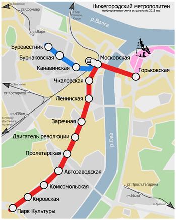 Схема Нижегородского метрополитена